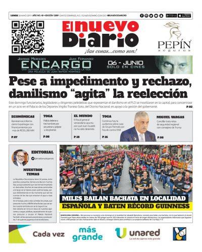 Portada Periódico El Nuevo Diario, Lunes 20 Mayo 2019