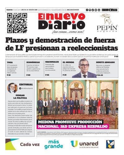 Portada Periódico El Nuevo Diario, Martes 07 Mayo 2019
