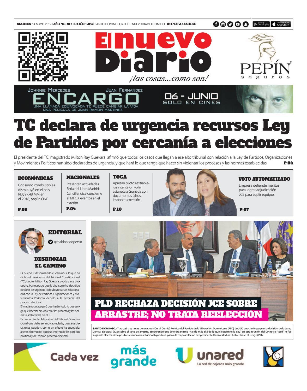 Portada Periódico El Nuevo Diario, Martes 14 Mayo 2019