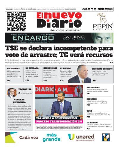 Portada Periódico El Nuevo Diario, Martes 21 Mayo 2019
