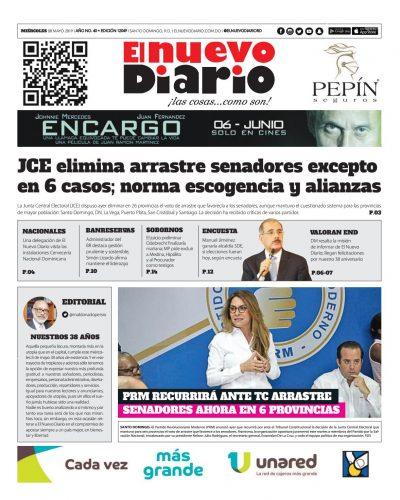 Portada Periódico El Nuevo Diario, Miércoles 08 Mayo 2019