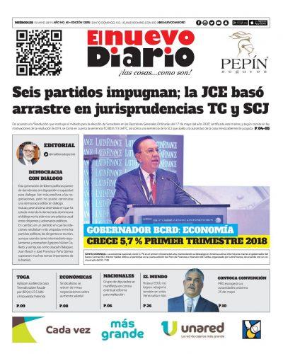 Portada Periódico El Nuevo Diario, Miércoles 15 Mayo 2019