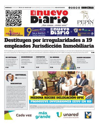 Portada Periódico El Nuevo Diario, Miércoles 22 Mayo 2019