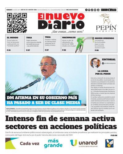 Portada Periódico El Nuevo Diario, Sábado 04 Mayo 2019