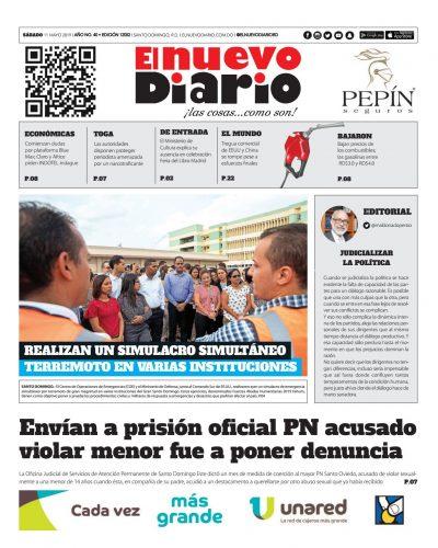 Portada Periódico El Nuevo Diario, Sábado 11 Mayo 2019
