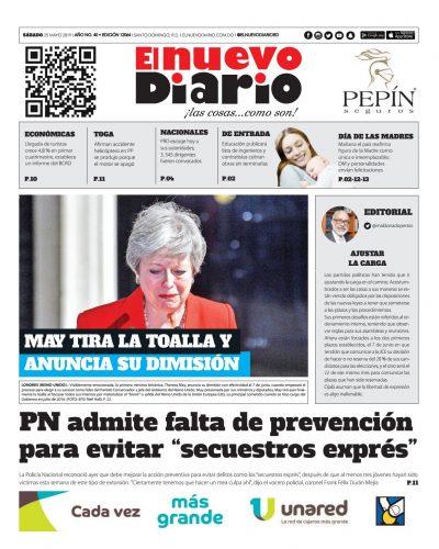 Portada Periódico El Nuevo Diario, Sábado 25 Mayo 2019