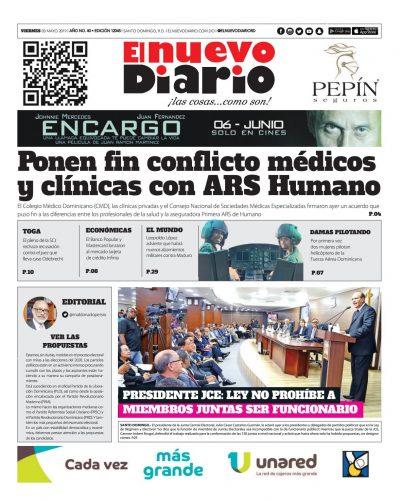 Portada Periódico El Nuevo Diario, Viernes 03 Mayo 2019