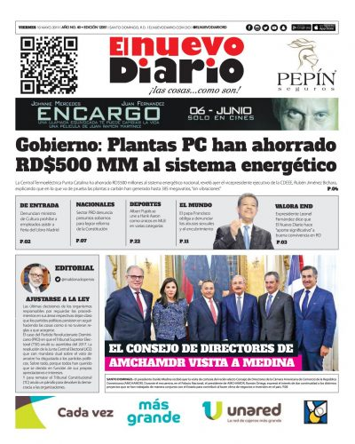 Portada Periódico El Nuevo Diario, Viernes 10 Mayo 2019