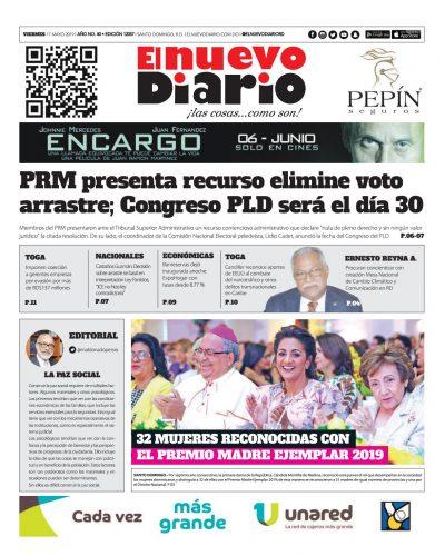 Portada Periódico El Nuevo Diario, Viernes 17 Mayo 2019