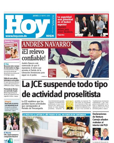 Portada Periódico Hoy, Jueves 23 Mayo 2019