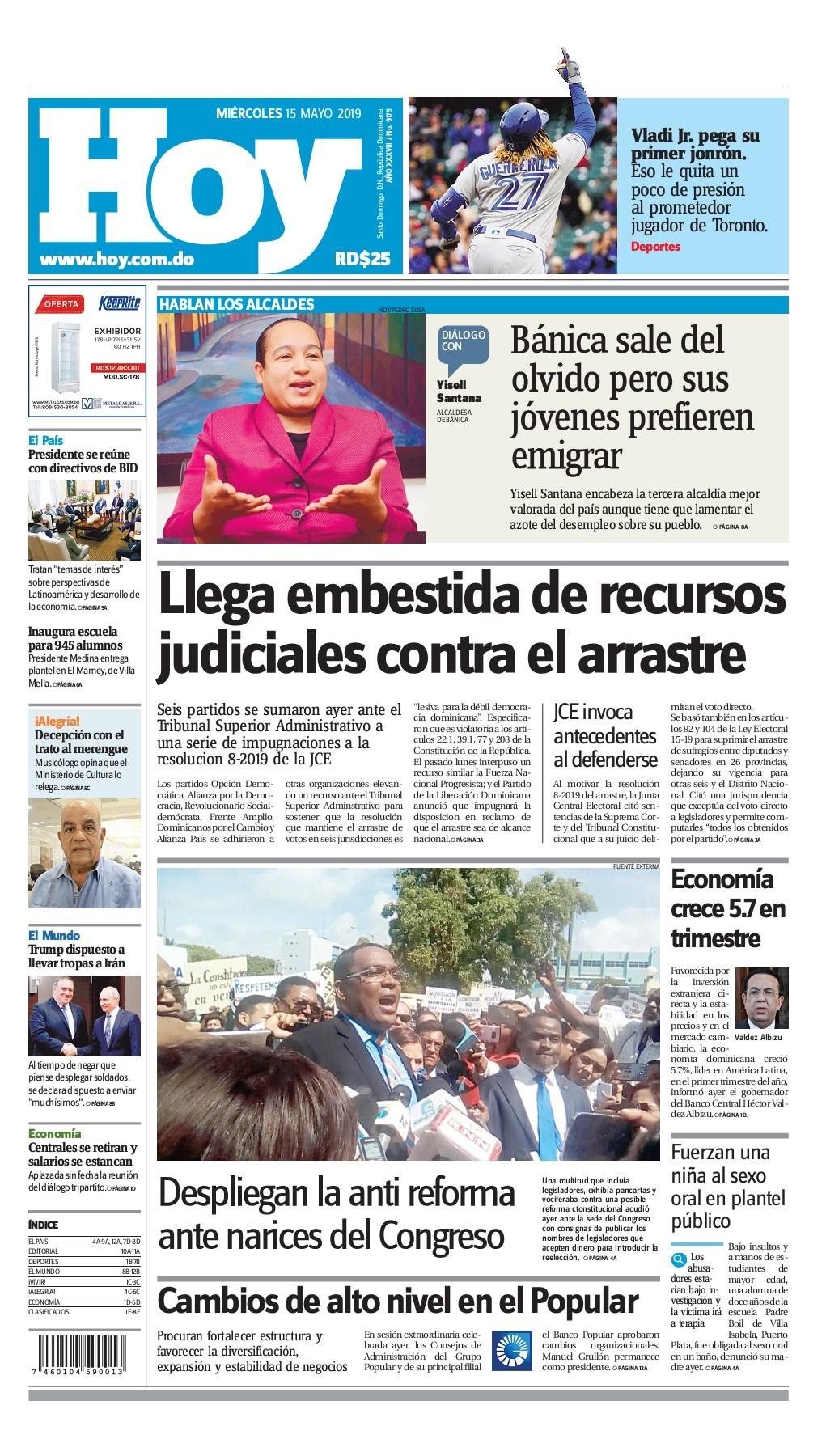Portada Periódico Hoy, Miércoles 15 Mayo 2019