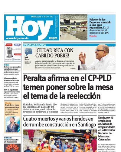 Portada Periódico Hoy, Miércoles 22 Mayo 2019