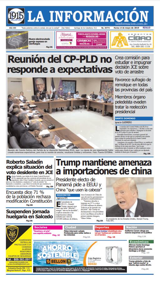 Portada Periódico La Información, Martes 14 Mayo 2019