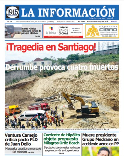 Portada Periódico La Información, Miércoles 22 Mayo 2019