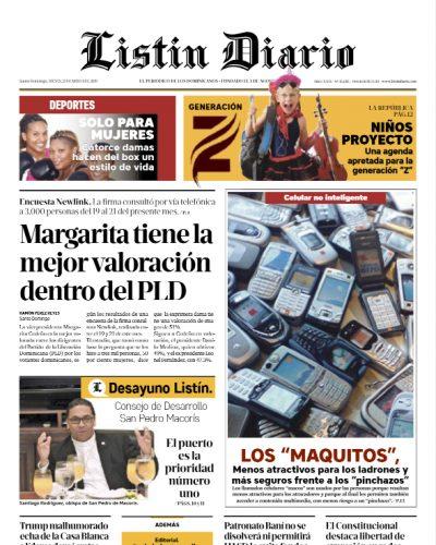 Portada Periódico Listín Diario, Jueves 23 Mayo 2019
