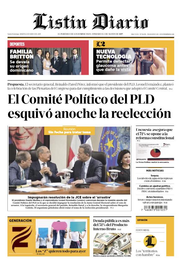 Portada Periódico Listín Diario, Martes 14 Mayo 2019