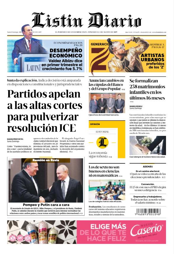 Portada Periódico Listín Diario, Miércoles 15 Mayo 2019