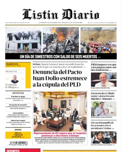 Portada Periódico Listín Diario, Miércoles 22 Mayo 2019