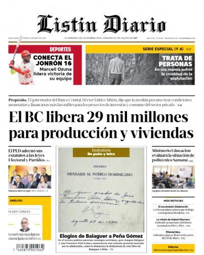 Portada Periódico Listín Diario, Viernes 31 Mayo 2019