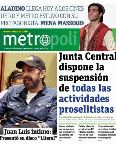 Portada Periódico Metro, Jueves 23 Mayo 2019