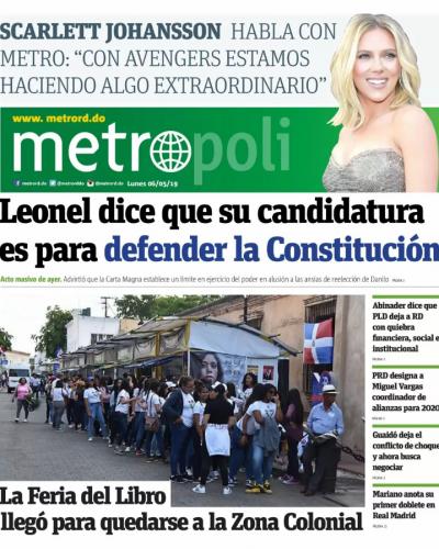 Portada Periódico Metro, Lunes 06 Mayo 2019