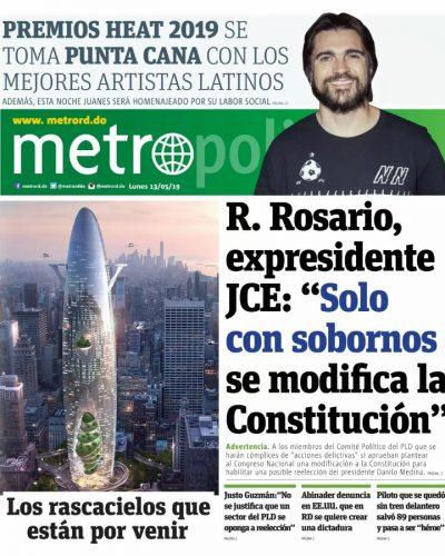 Portada Periódico Metro, Lunes 13 Mayo 2019