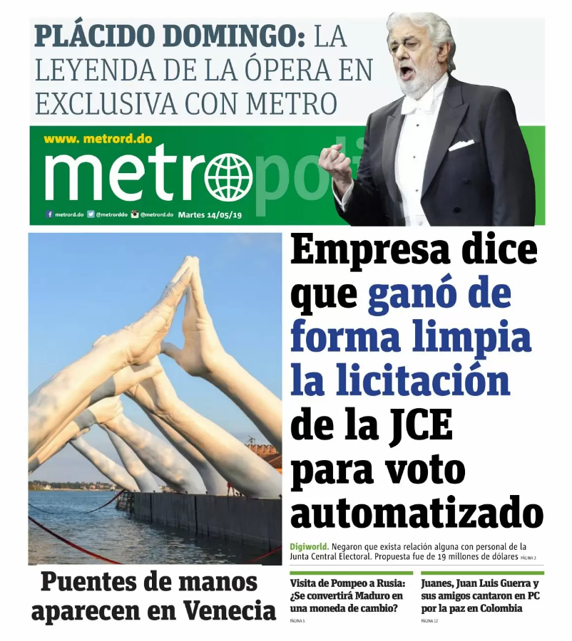 Portada Periódico Metro, Martes 14 Mayo 2019
