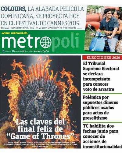 Portada Periódico Metro, Martes 21 Mayo 2019