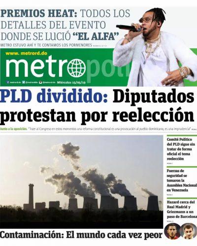 Portada Periódico Metro, Miércoles 15 Mayo 2019