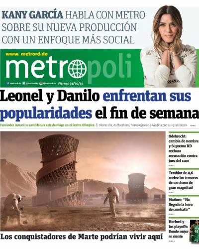 Portada Periódico Metro, Viernes 03 Mayo 2019