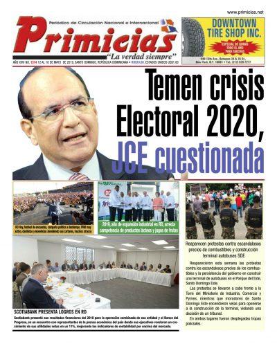 Portada Periódico Primicias, Domingo 12 Mayo 2019