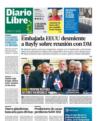 Portada Periódico Diario Libre, Jueves 06 Junio 2019