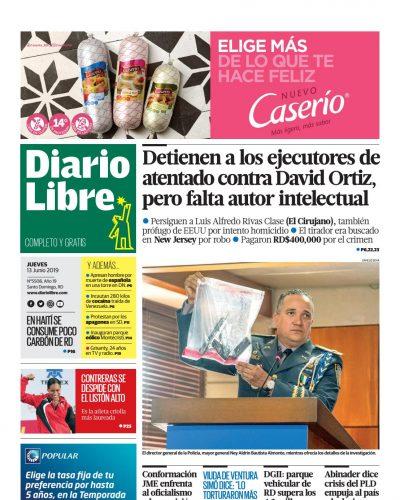 Portada Periódico Diario Libre, Jueves 13 Junio 2019
