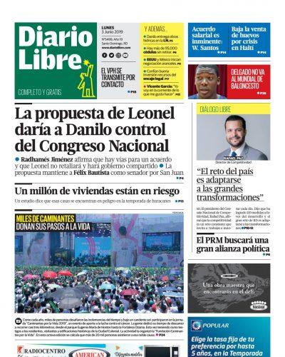 Portada Periódico Diario Libre, Lunes 03 Junio 2019