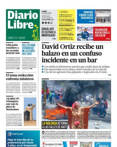 Portada Periódico Diario Libre, Lunes 10 Junio 2019