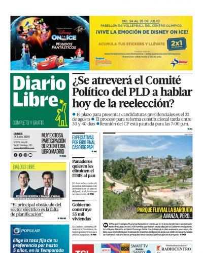 Portada Periódico Diario Libre, Lunes 17 Junio 2019