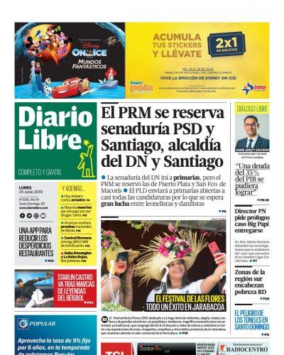 Portada Periódico Diario Libre, Lunes 24 Junio 2019