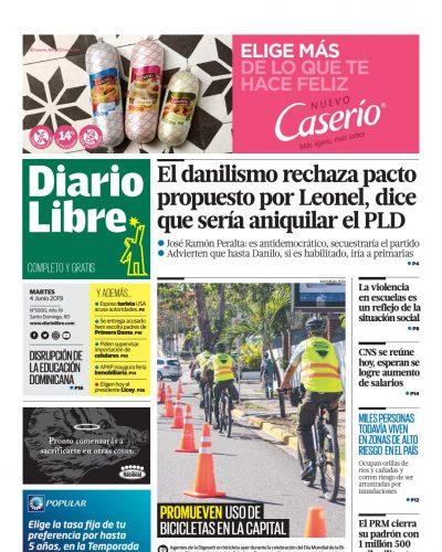 Portada Periódico Diario Libre, Martes 04 Junio 2019