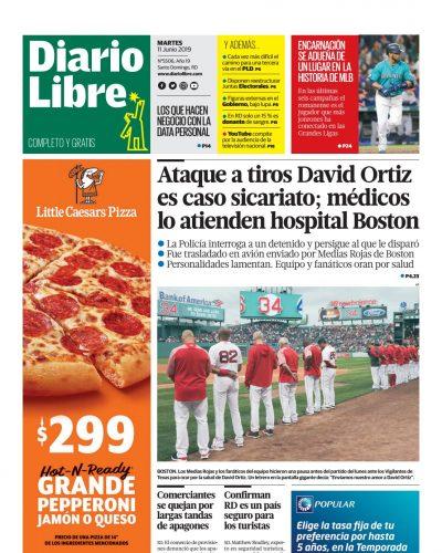 Portada Periódico Diario Libre, Martes 11 Junio 2019