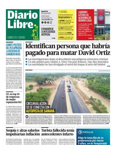 Portada Periódico Diario Libre, Martes 18 Junio 2019