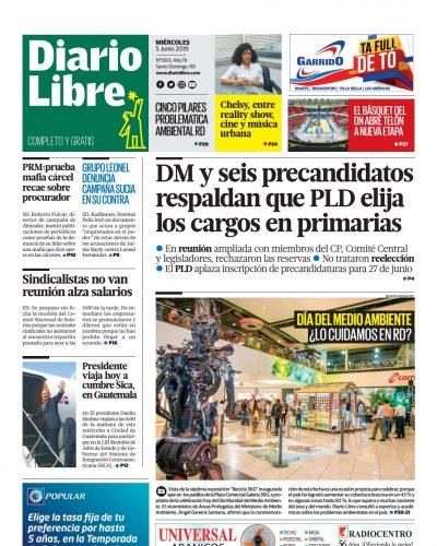Portada Periódico Diario Libre, Miércoles 05 Junio 2019