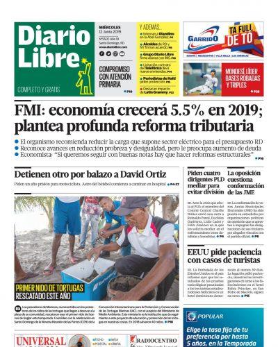 Portada Periódico Diario Libre, Miércoles 12 Junio 2019