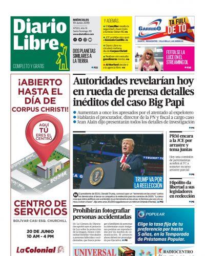 Portada Periódico Diario Libre, Miércoles 19 Junio 2019