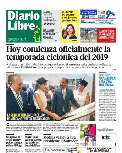 Portada Periódico Diario Libre, Sábado 01 Junio 2019