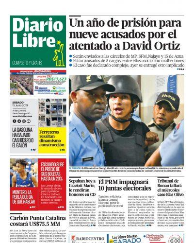 Portada Periódico Diario Libre, Sábado 15 Junio 2019