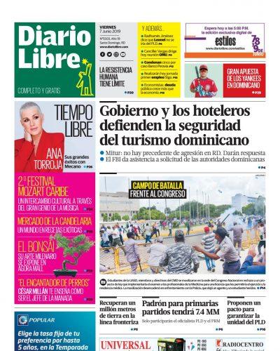 Portada Periódico Diario Libre, Viernes 07 Junio 2019