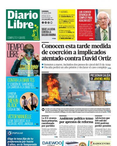 Portada Periódico Diario Libre, Viernes 14 Junio 2019