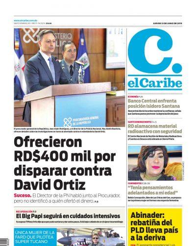 Portada Periódico El Caribe, Jueves 13 Junio 2019