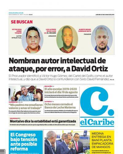 Portada Periódico El Caribe, Jueves 20 Junio 2019