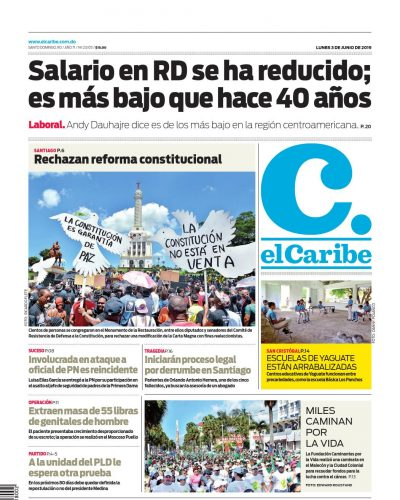 Portada Periódico El Caribe, Lunes 03 Junio 2019
